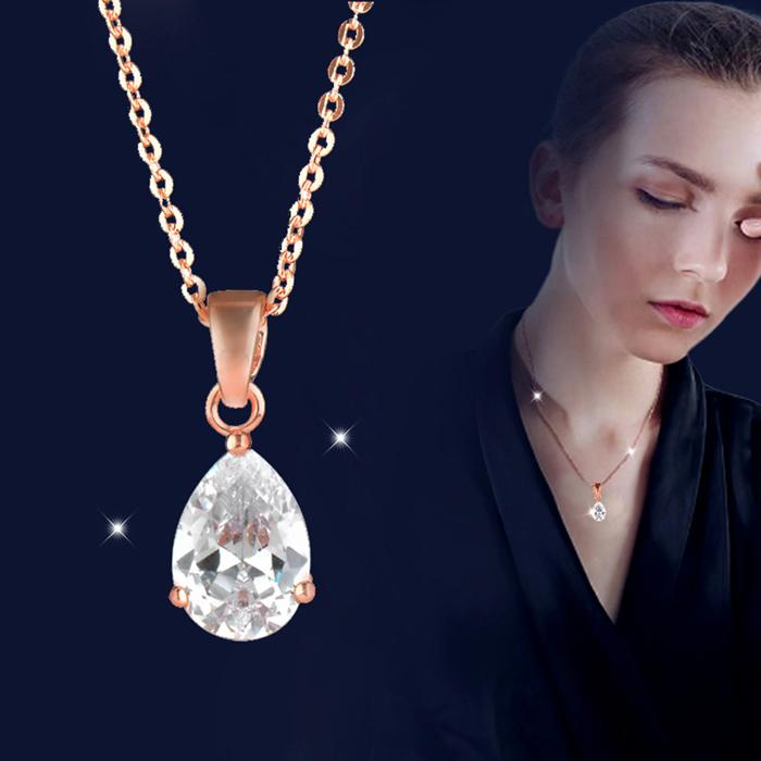 Shining Clear Cubic Zirconia Teardrop Pendant Necklace For Female Girl Fashion Chic Wedding Jewelry 2 Colors XL450 SSH