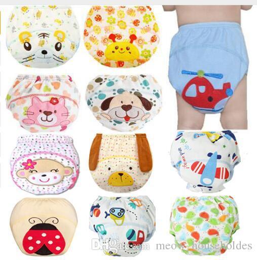 Милый ребенок подгузники многоразовые подгузники ткань пеленки моющиеся  младенцы дети детские хлопок тренировочные брюки трусики подгузник  изменение ... 85faa264ef4