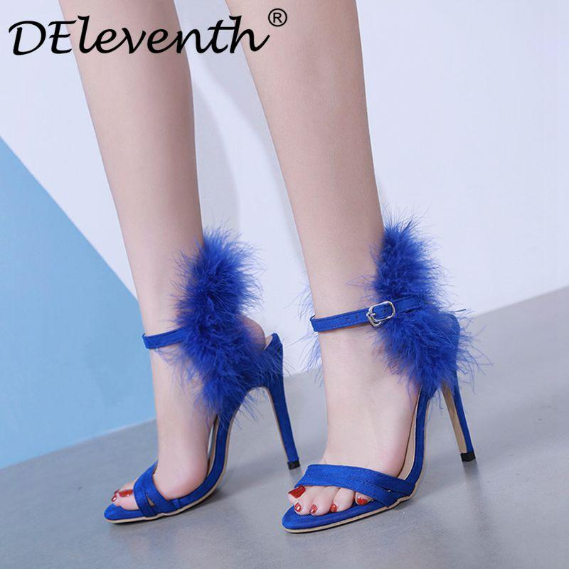 39b9ce65d51 Fashion Women'S Sandals Blue Black Fur Shoes Sandals Feather Peep Toe  Buckle Strap Stilettos High Heels Party Ladies Sexy Shoes White Sandals  Wedge Heels ...