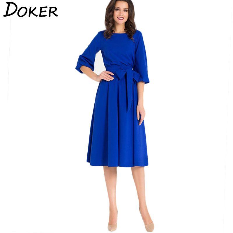 2019 New Elegant Office Dress Women O Neck Lantern Sleeves Sashes ...