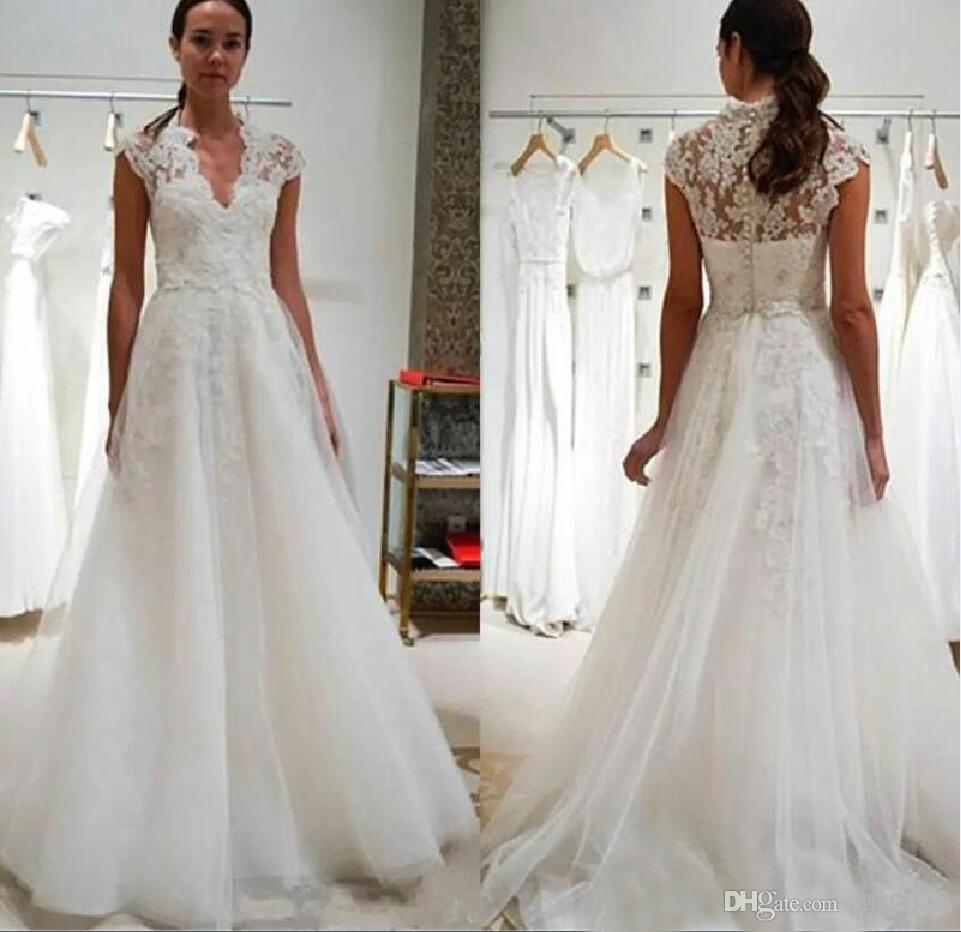 c082ce597959 Discount 2019 Vintage V Neck A Line Lace Wedding Dresses Cap Short Sleeves  Appliques Tulle Wedding Gowns Floor Length Covered Button Bridal Dresses  Wedding ...