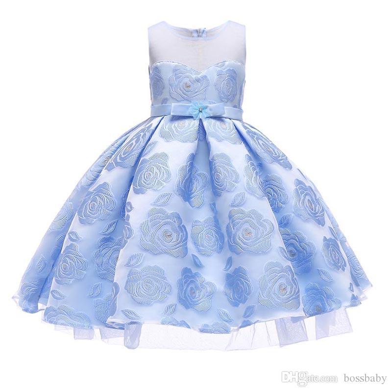 6d1fe6b3beac Acquista Baby Girl Dress Bambini Stampa Rose Abito Colletto Tondo Senza  Maniche In Pizzo Posteriore Con Cerniera Gonna Principessa 32 A  13.2 Dal  Bossbaby ...