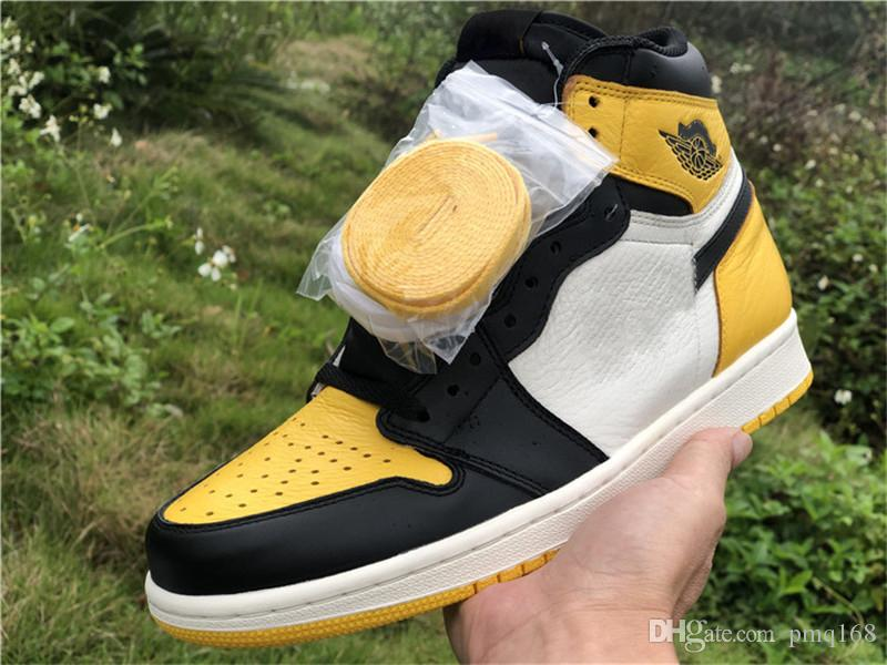 2019 Released Authentic 1 High OG NRG Yellow Toe 1S Black Yellow Man Basketball Shoes Sports Sneakers With Original Box AR1020-700