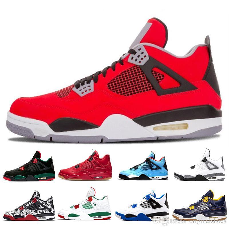 huge discount 12664 34ae6 Acheter 4 4s Hommes Chaussures De Basketball Cactus Jack Blanc Ciment Jeu  Royal Motor 2019 Hommes Sport Sneakers Designer Chaussures Formateurs  Taille 7 13 ...