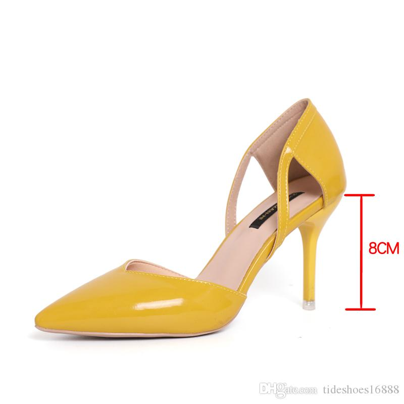 Scarpins Sexy High Heels Women Pumps Pointed Toe Dress Patent Leather Shoes Women Heels Yellow/pink Shoes Woman Beige