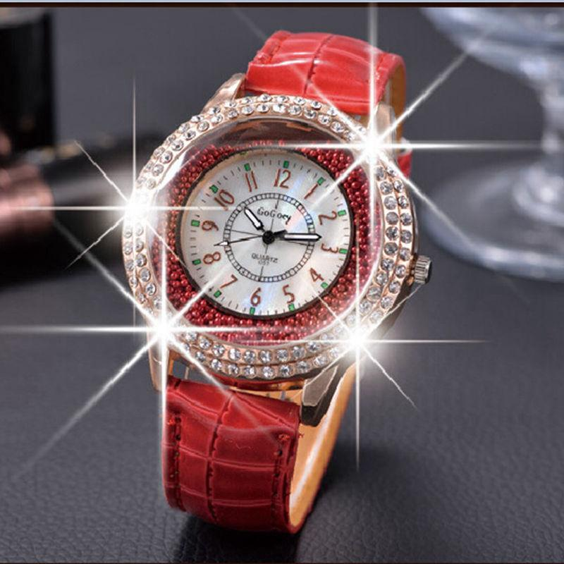 5d9f9a18e 2019 New Female Quartz Watch Leather Strap Diamond Decoration Dress Watch  Multi Color Free Delivery Red Black Blue White Online Watches Buy Buying  Watches ...