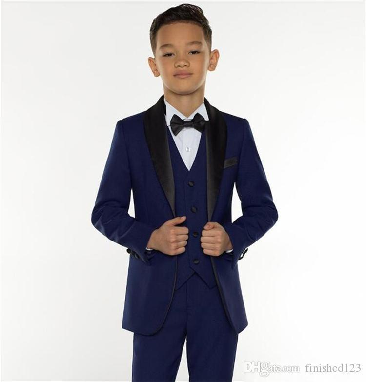 e607cf77dad Excellent Fashion Navy Blue Kids Formal Wear Suit Children Attire Wedding  Blazer Boy Birthday Party Business Suit (jacket+pants+vest) J899