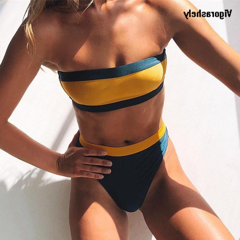 d90a3e0b9d 2019 2019 Sexy Yellow Green Bandeau Bikini High Waist Swimsuit Push Up  Swimwear Women Strapless Bikini Bathing Suit Swim Wear Buquini From  Happy_sport, ...