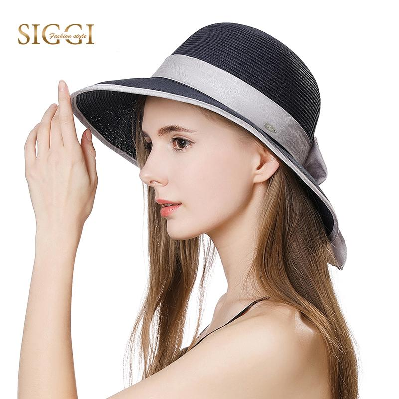 6da21625066 FANCET Summer Straw Sun Hats For Women Solid Chic Bowknot Wide Brim ...