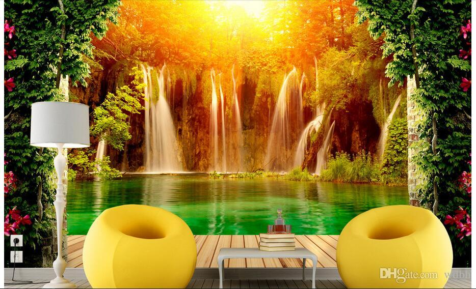 WDBH custom photo 3d wallpaper Sunny waterfall idyllic landscape background living room Home decor 3d wall murals wallpaper for walls 3 d