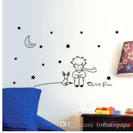 Livre Populaire Conte De Fees Le Petit Prince Avec Fox Moon Star Decor A La Maison Sticker Mural Pour Chambres D Enfants Bebe Enfant Cadeau D