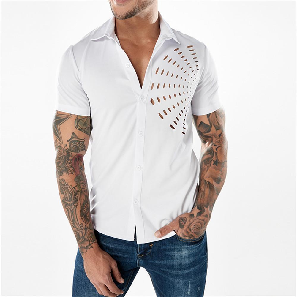 58fe59dc7545 Acquista Camicia Casual Punk Rock Vendita Calda Scava Fuori Streetwear  Camicia Fashion Top Party Club Uomo Taglie Forti Blusa Uomo 2019 Cool Shirt  A  29.14 ...