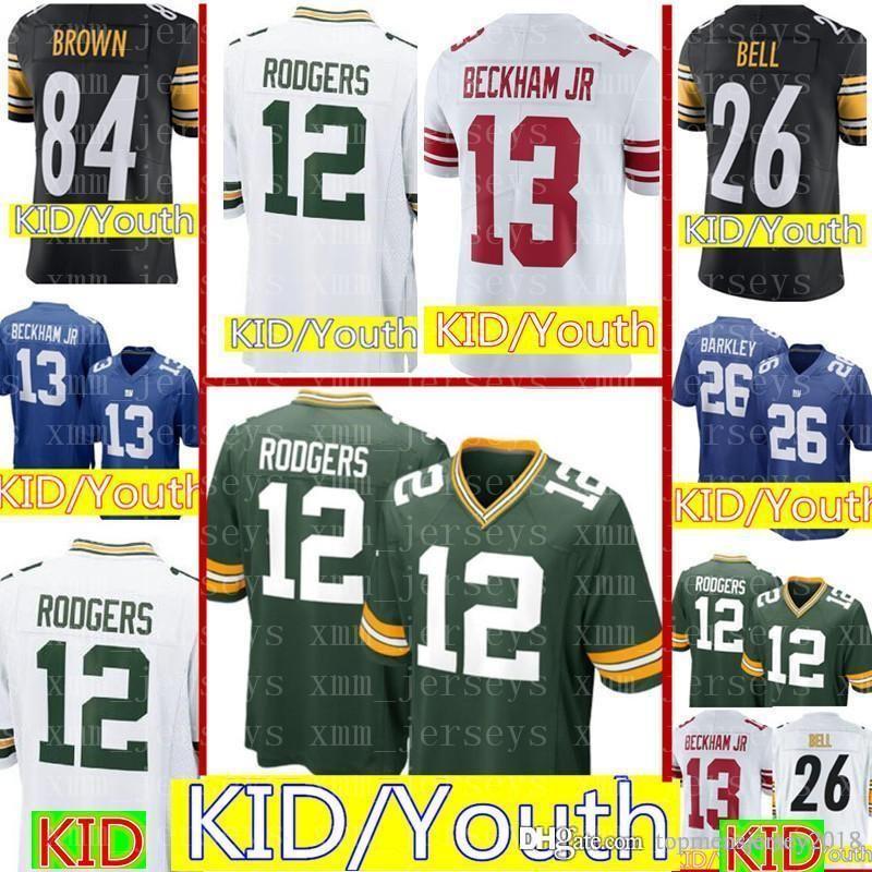 9b77cf5d Kids 12 Aaron Rodgers Green Bay Packers Jersey Youth KIDS Green Bay Packers  Football Jerseys 84 Antonio Brown Cheap wholesale S-XL