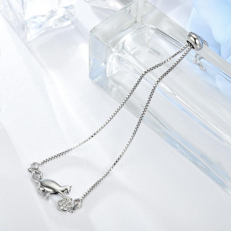 Kitten zircon ajustable corea pulsera para las mujeres accesorios de joyería de moda joyería de la boda SL0062