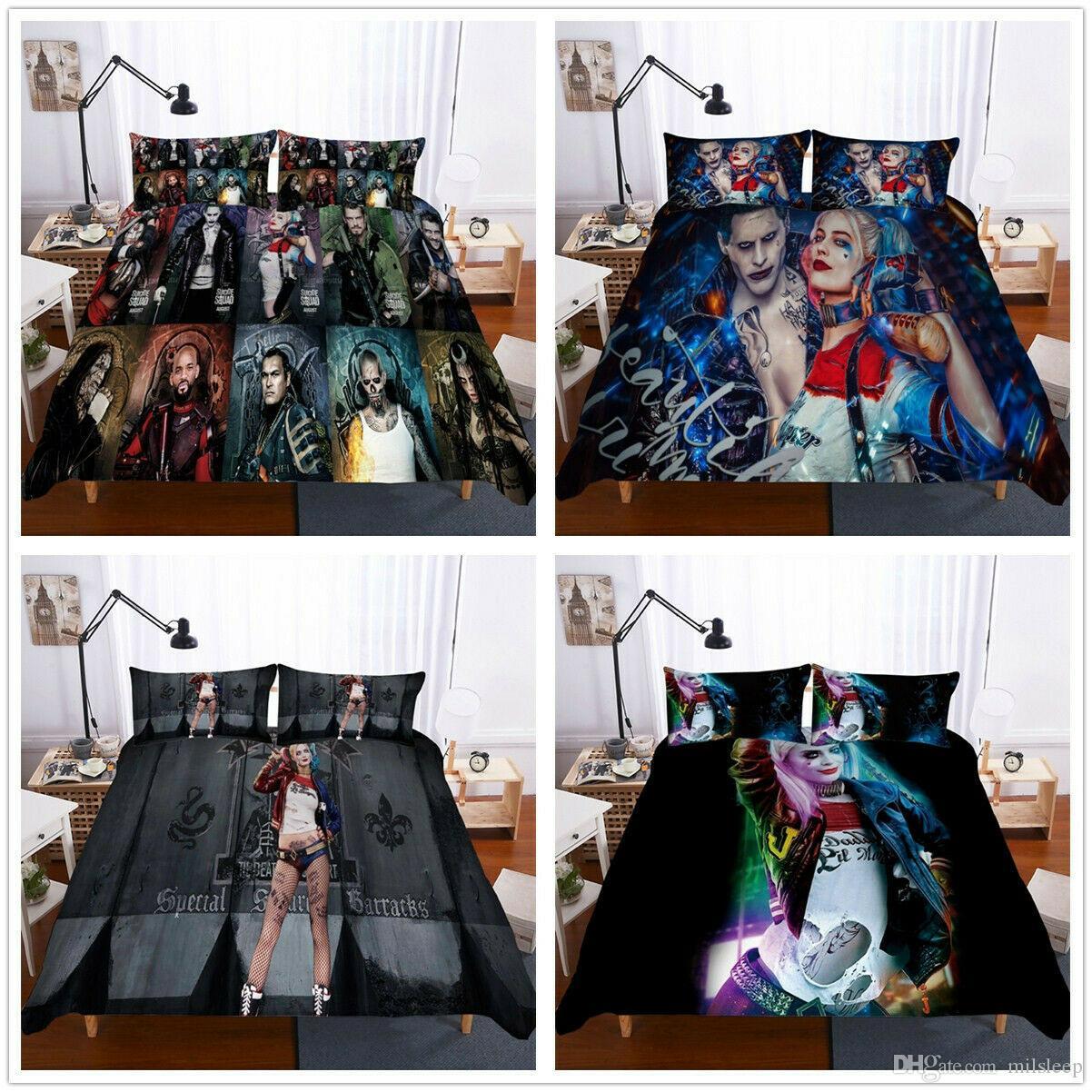 3d Suicide Squad Harley Quinn Joker Bettbezug Bettwäsche Set Quilt Doona Cover