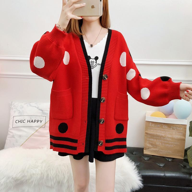 2019 My 42 Sweater Womens Winter Fashion 2018 Korean Sweet Polka Dot