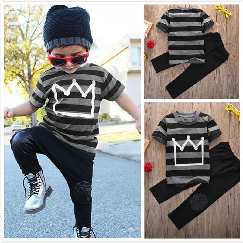 T-shirt Tops Pants 2pcs Children Cool Newborn Baby Boys Cotton Crown Striped Short sleeve Black Outfits Clothes Set Fashion Boys