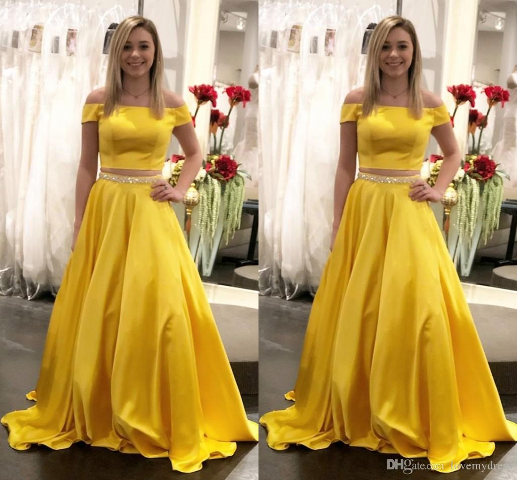 b873960c948e6 2019 Cheap Yellow Prom Dresses 2 Piece Off The Shoulder Cutaway Side Beaded  Sashes Formal Elegant Evening Party Special Occasion Dress