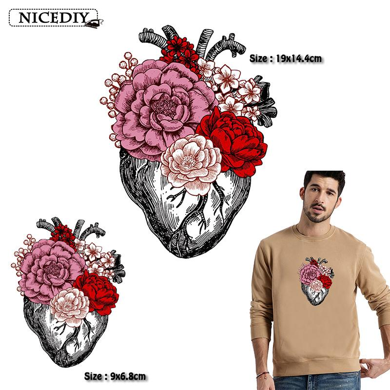 10 pieces punk heat transfer vinyl heat transfer ironing on clothes new flowers heart stickers suitable for shirts