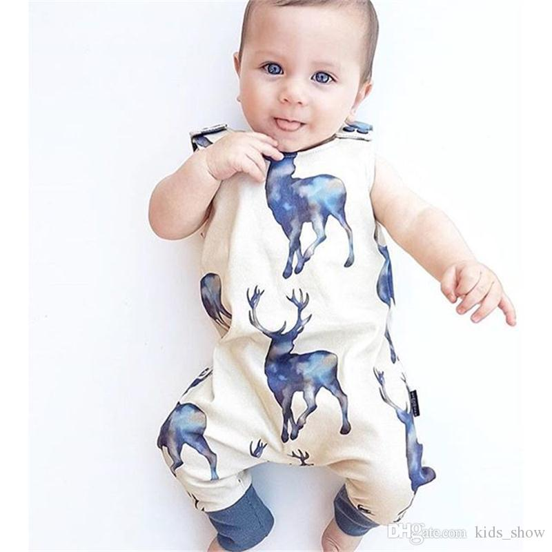 Baby Boys Girls Sleeveless Deer Printed Romper Newborn Infant Jumpsuit Playsuit Kids Summer Cool Outfits Clothes