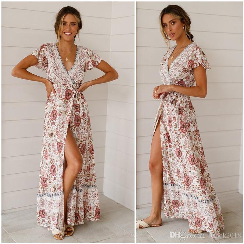 44dbe7289822b Bohemian Beach On vacation Dresses 2019 New Women s Spring Summer Short  Sleeve Deep V Printed Leisure time long Dresses
