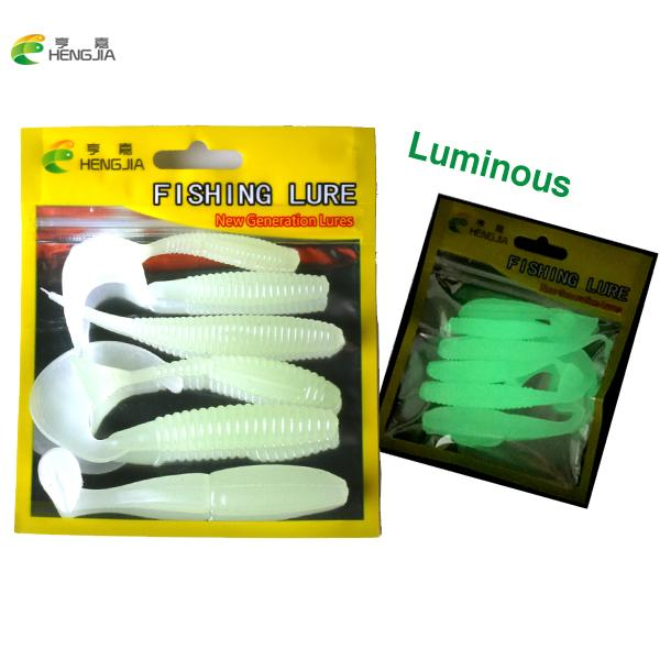 uminous lure 6Pcs/Lot Luminous Lures Soft Bait Set Mix silicone bait Worms fishing lure with salt smell Fishing Takcle Grub Artificial Lu...