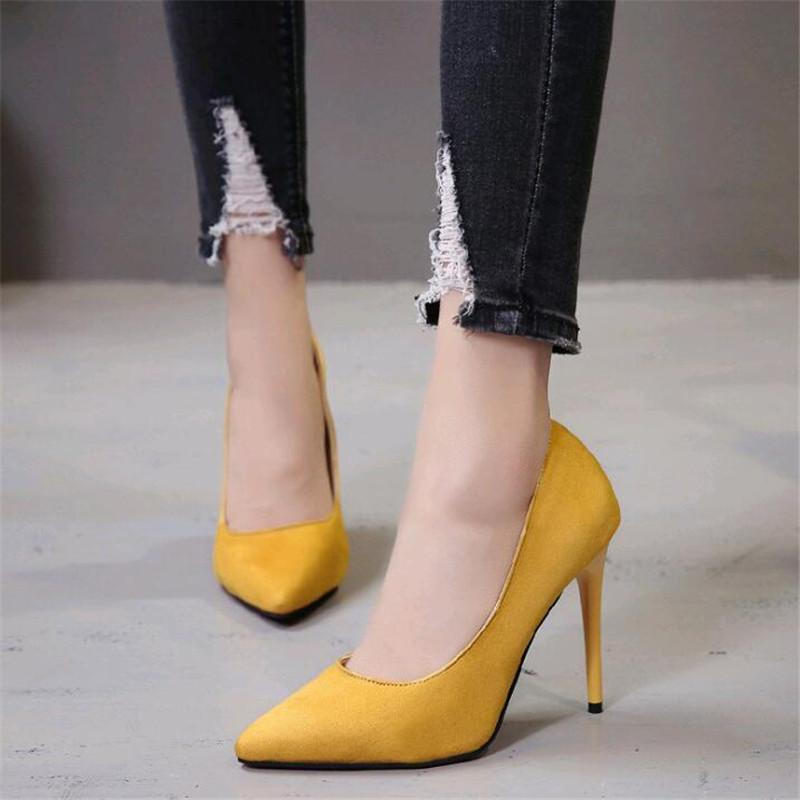 43f448d194 Dress Shoes 2019 Best Quality Big Size 35-43 Thin Heels Elegant Spring  Career Office Woman Pumps Party Ol Suede Women's Shoe