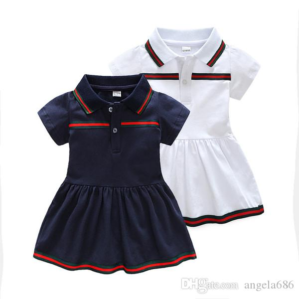 Designer Baby Girls dresses Short Sleeve Kids Shirts Fashion Girl Dress For Girls Green Stripes Children Clothing Causal Dress