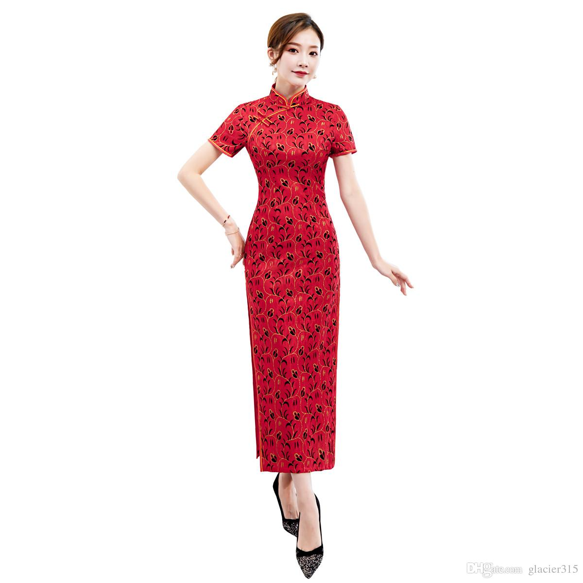 376cd567a Shanghai Story 2019 Top Quality Lace Qipao Chinese Traditional dress  Chinese Women's Clothing Vintage Cheongsam Long