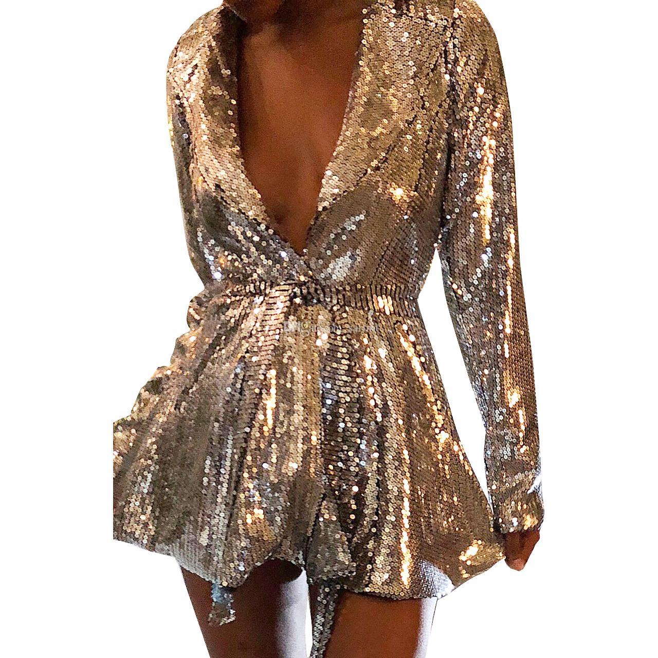 b1585d64c59c 2019 Full Sequins Women Mini Glitter Dress Shiny Sexy Deep V Dress Club  Bodycon Mini Dress Sale F0656 S XXL Long Sleeve Waist Belt From Sarmit