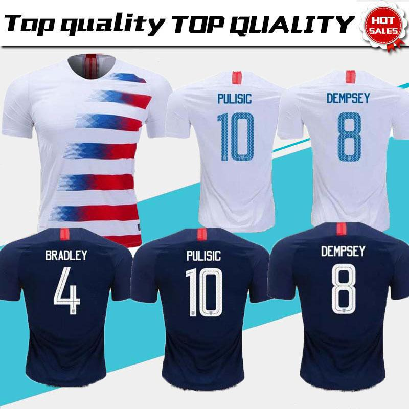 100% authentic 97b69 da062 2018 2019 USA PULISIC Soccer Jersey 18 19 DEMPSEY BRADLEY ALTIDORE WOOD  America Football jerseys United States Shirt Camisetas Thai quality
