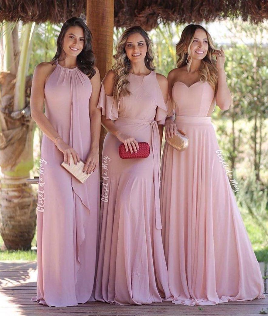 6be2bc701 2019 Elegante gasa rosa Vestidos de dama de honor Joya Sin mangas Boda  Vestido de huésped Parte nupcial Look Sheer Back Cremallera Vestido de dama  de ...