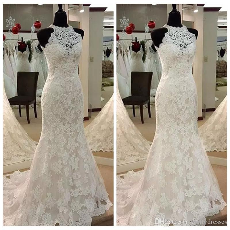 96c6df3f87e56b High Neck Slim Lace Mermaid Wedding Dresses 2019 Full Lace Bridal Gowns  Custom Plus Size Vestidos