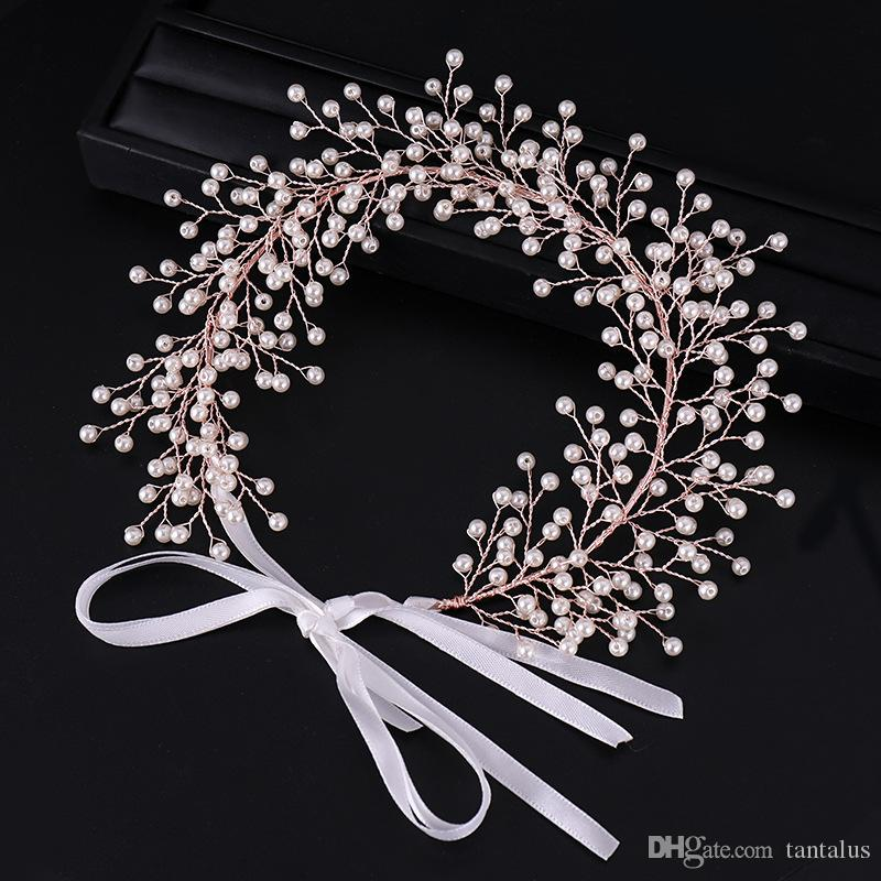 New Vintage Rose Gold Hairbands Luxuy Tiara For Bride Wedding Queen Royal Crown Tiaras Hair Jewelry Hair Accessories Party Gift
