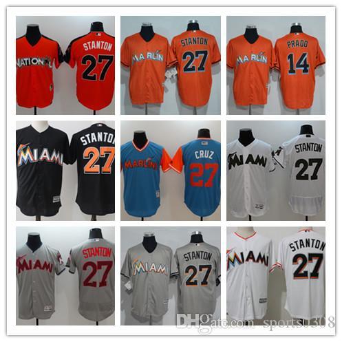 reputable site faca1 f684d 2019 custom Miami Men's women youth Majestic Marlins Jersey #14 Martin  Prado 27 Giancarlo Stanton Blue Orange Grey White Baseball Jerseys