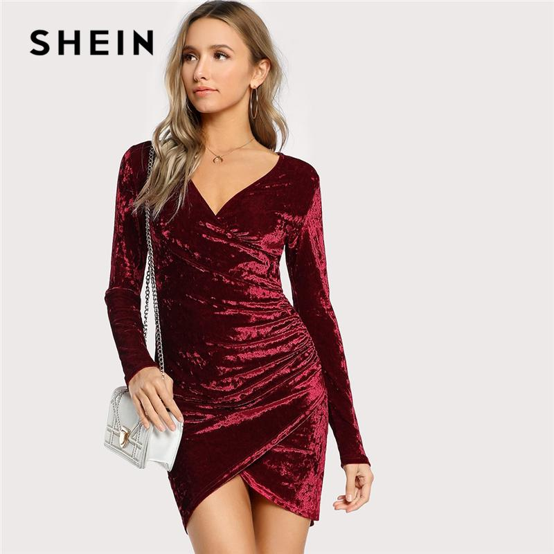 40bb280578 SHEIN Burgundy Party Sexy Solid Ruched Overlap Surplice Crushed Velvet Long  Sleeve Pencil Dress Autumn Club Women Dresses Black Cocktail Party Dress  Long ...