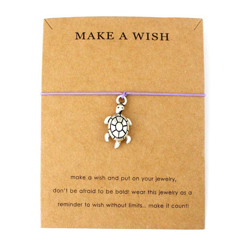 Летний пляж стиль ювелирные изделия с сообщением карты золото серебро Черепаха сделать желание Черепаха морские черепахи Шарм браслеты для женщин