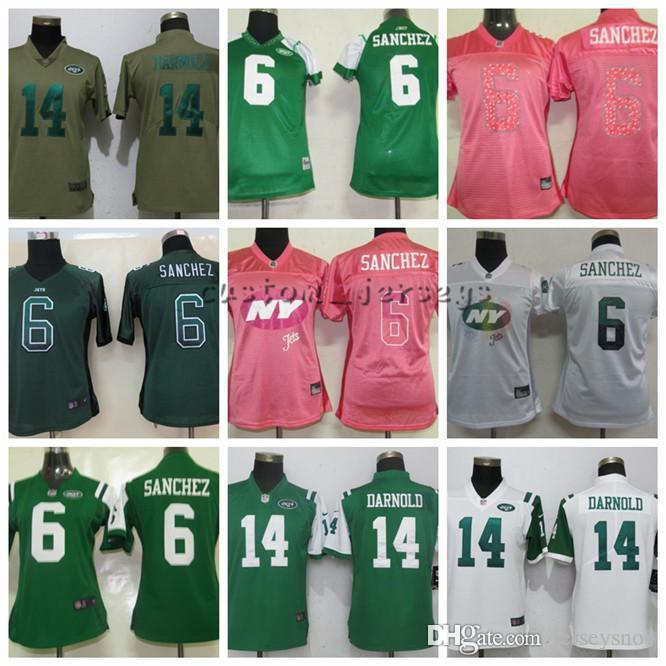 c60a0091 2019 Women New York Jets 6 Sanchez 14 Darnold White Pink Green Elite  Football Jerseys From Jerseysno4, $26.4 | DHgate.Com