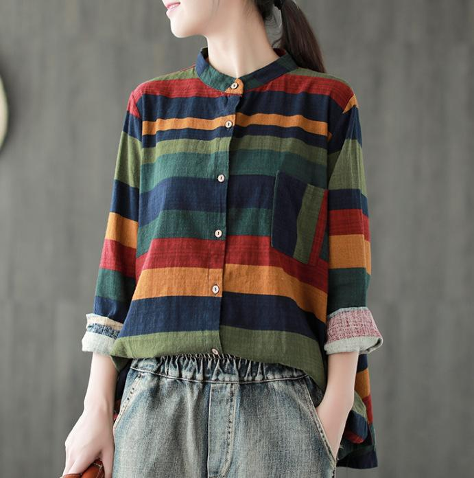 2019 Women Vintage Tops Autumn Spring 2018 Stripe Cotton Linen Cardigan  Contrast Color Long Sleeve Shirt Mori Girl Loose Women Blouse From Brry 914d55636