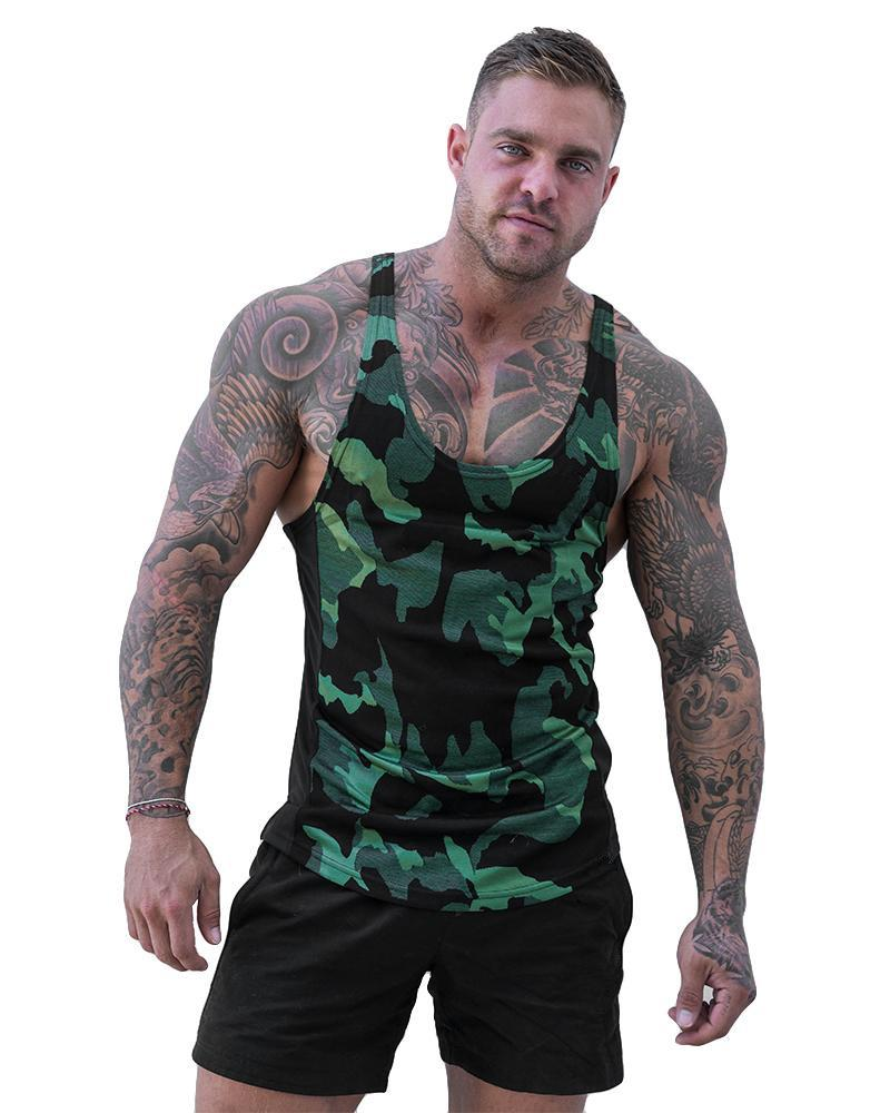 Hot Mens Sports Vest Muscle Quick Drying Breathable Tops Summer Running Camouflage H Vest Male Clothes