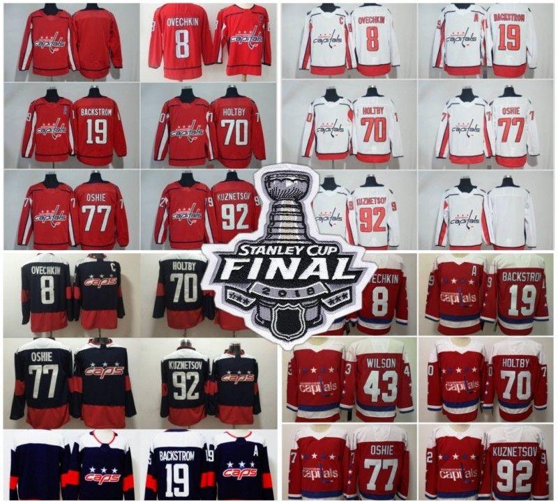 2019 2018 Stanley Cup Finals Washington Capitals 8 Alex Ovechkin 19 Nicklas  Backstrom Jerseys 77 TJ Oshie 92 Evgeny Kuznetsov 70 Braden Holtby From  Tobe ... d353242c650e5