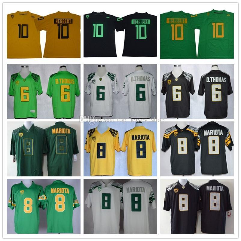4b6862a14 Men's Mighty Oregon Jersey #10 Justin Herbert #8 Marcus Mariota 6 DeAnthony  Thomas green black yellow Oregon Ducks College Football Jerseys