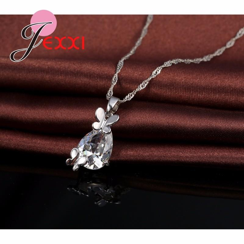 JEXXI 925 Sterling Silver Cute Animal Butterfly Necklace Big Crystal Drop Earrings For Women Brincos Wedding Jewelry Sets Collar