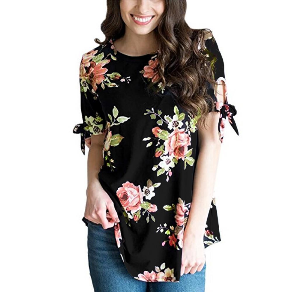 59be1a9c10 Compre ISHOWTIENDA 2019 Nueva Camisa De Moda Mujer De Las Mujeres Estampado  Floral De Manga Corta Raya Cuello Redondo Casual Tops Camisa Camisa Camisas  ...