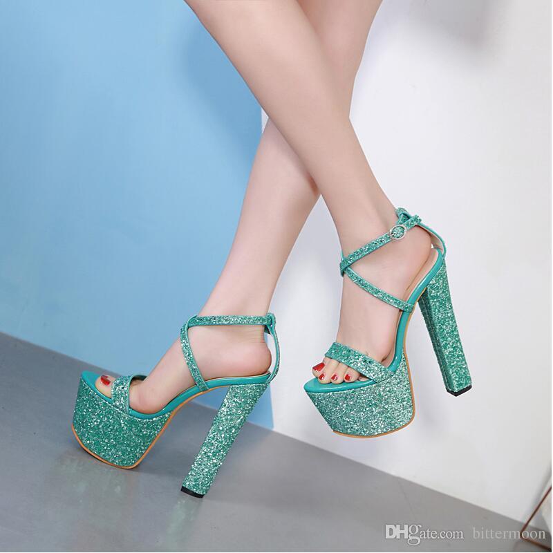 d616e359 Compre Envío Gratis 2019 Moda Europea Sexy Glitter Mujeres Plataforma  Sandalias Dedos Abiertos Verano Tacones Zapatos De Tacón Alto Verdes Tacón  Grueso 17 ...