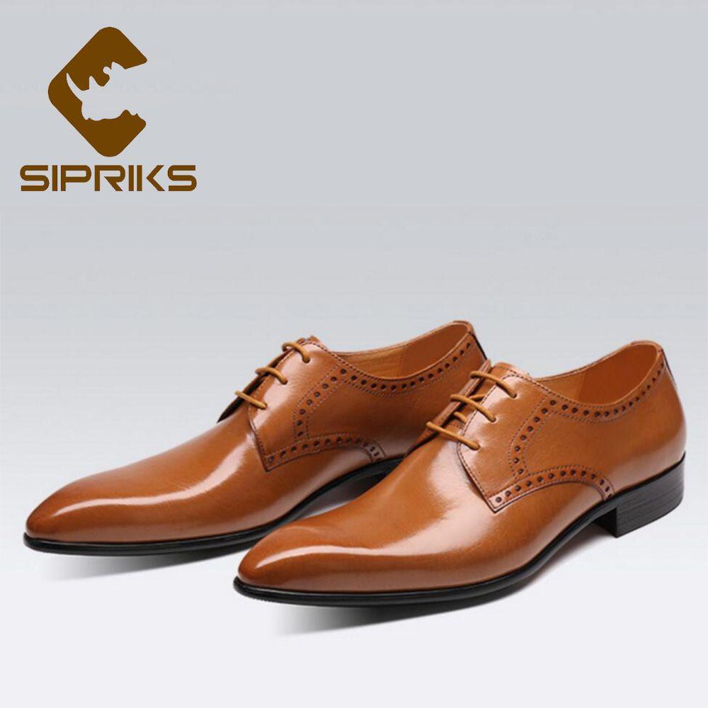 0f197a9f5d Compre Sipriks Estilo Británico Zapatos De Vestir Para Hombre De Cuero  Genuino De Color Marrón Claro Trajes De Hombre Zapatos Elegante Negro Boda  Social En ...