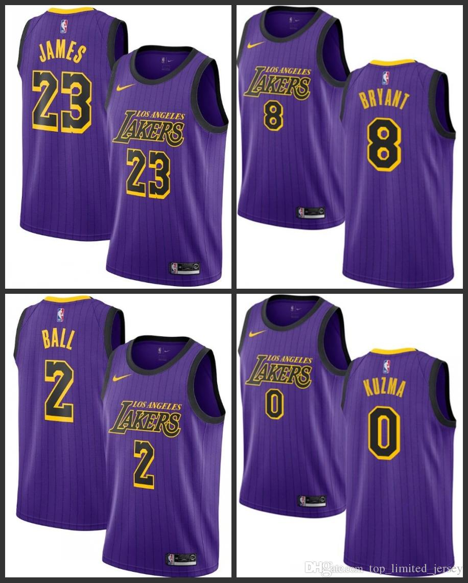 best service fb1c7 397b4 18-19 Season Los Angeles Men Laker Jersey #23 LeBron James Kyle Kuzma Lonzo  Ball Kobe Bryant City Jerseys Edition Fan Version