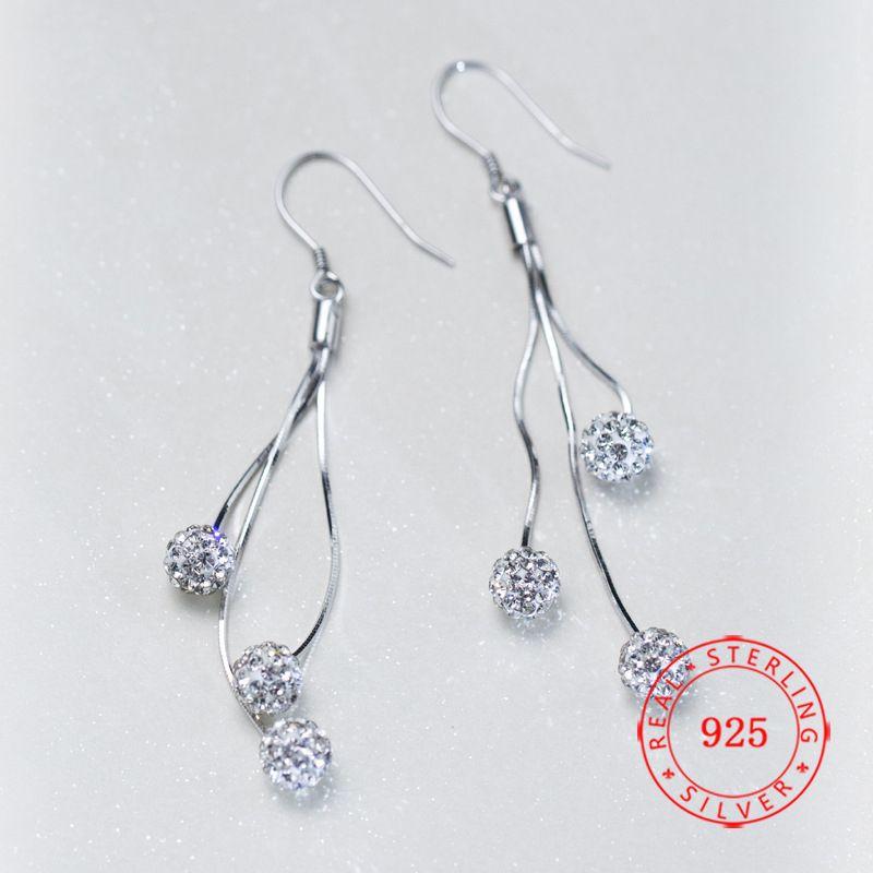 5cc1dbac5a35 Plata de ley 925 pendientes largos de la borla de fábrica blanca cz 6 mm  bola de moda araña pendiente de buena calidad joyería china