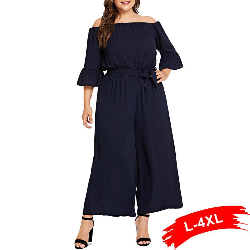 Plus Size Off The Shoulder Half Flare Sleeve Rompers And Jumpsuits 4Xl Wide Leg Navy Blue Elegant Workwear Women Jumpsuit