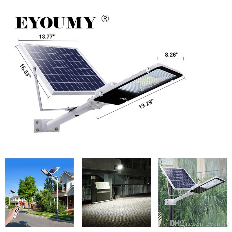 Eyoumy Solar Street Flood Lights IP66 Outdoor Lamp 100W 5500 Lumens With  Pole Remote Control Dusk to Dawn Security Lighting for Yard, Garden